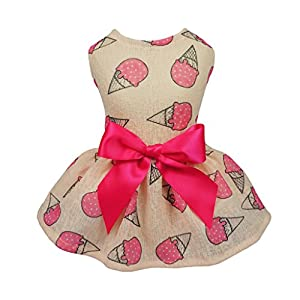Fitwarm Sweet Ice Cream Pet Clothes for Dog Dresses Vest Shirts Sundress Pink Medium