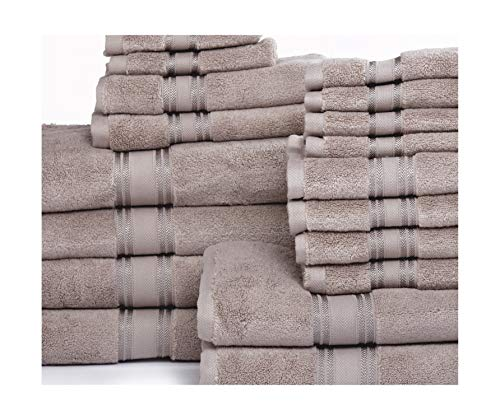 ISABELLA CROMWELL Luxury Plush Super Absorbent 100% Cotton 6 Piece Towel Set; 2 Bath Towels, 2 Hand Towels and 2 Wash Cloths (18 pc Towel Set, Taupe)