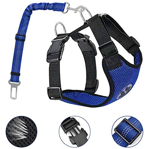 AutoWT Dog Safety Vest Harness, Pet Car Harness Dog Safety Seatbelt Breathable Mesh Fabric Vest with Adjustable Strap for Travel and Daily Use in Vehicle for Dogs Puppy Cats (S, New Blue)