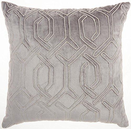 Nourison Mina Victory SC015 Luminescence Embroidered Interlock Throw Pillow, 18