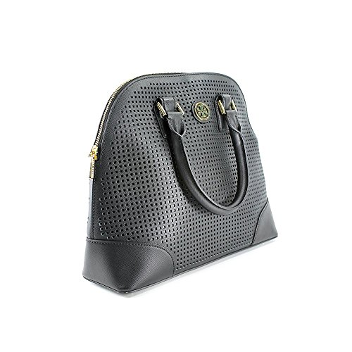 Tory Burch Robinson Perforated Small Womens Black Purse Leather Tote