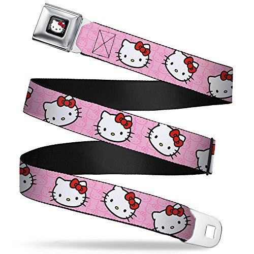 """Buckle-Down Seatbelt Belt - Hello Kitty Random Faces w/Pink Print - 1.5"""" Wide - 24-38 Inches in Length"""