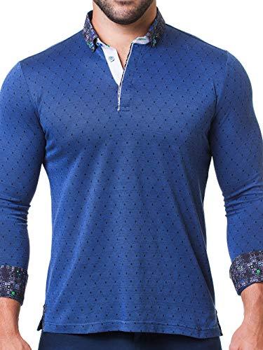 Maceoo Mens Designer Polo - Stylish & Trendy Sport Shirts - Newton Polka Navy - Tailored -