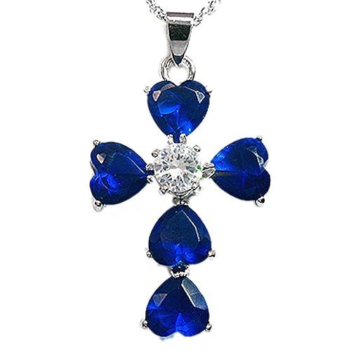 Wedding Jewelry HEART CUT BLUE SAPPHIRE WHITE GOLD PLATED GP PENDANT