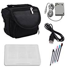 HDE Nintendo 3DS Travel Bag Carrying Case + Game Card Holder + 5-Pack Retractable Stylus Pens + USB Charger Cable + AC Power Adapter (Nintendo 3DS XL, 3DS, DSi XL, DSi, DS Lite)