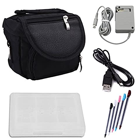 HDE Nintendo 3DS Travel Bag Carrying Case + Game Card Holder + 5-Pack Retractable Stylus Pens + USB Charger Cable + AC Power Adapter (Nintendo 3DS XL, 3DS, DSi XL, DSi, DS (3ds Xl Charging Case)