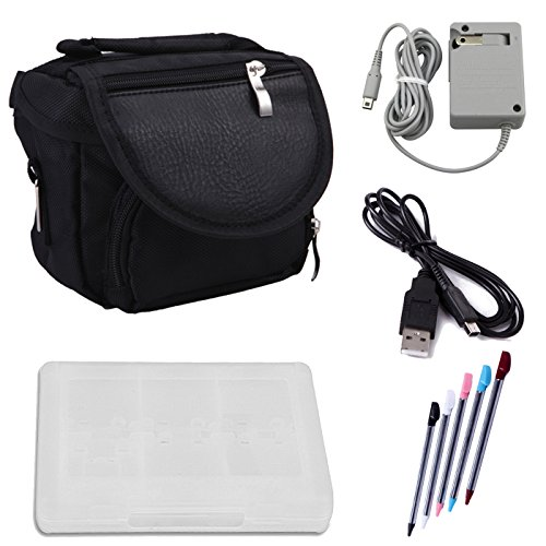 HDE Travel Bag Bundle for Nintendo 3DS Travel Bag Carrying Case + Game Card Holder + 5-Pack Retractable Stylus Pens + USB Charger Cable + AC Power Adapter (Nintendo 3DS XL, 3DS, DSi XL, DSi, DS Lite) (Nintendo 3ds Power Case)