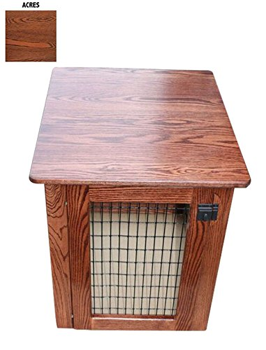 Pinnacle Wooden Dog Crate Furniture End Table Bed in Different Stain Colors (Acres, Medium)