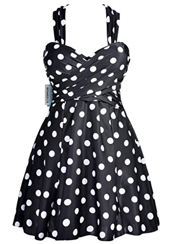 COCOPEAR Women Elegant Crossover One Piece Swimdress Floral Skirted Swimsuit(FBA),Polka Dot Black,XX-Large / 12-14