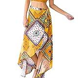 YJYdada Women Skirt,Women High-Waisted Boho Asymmetrical Hem Tie up Print Wrap Skirt (M)