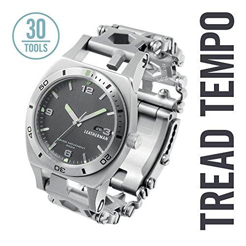 Leatherman - Tread Tempo Watch, Customizable Multitool Timepiece, Stainless Steel (Steel Timepiece)