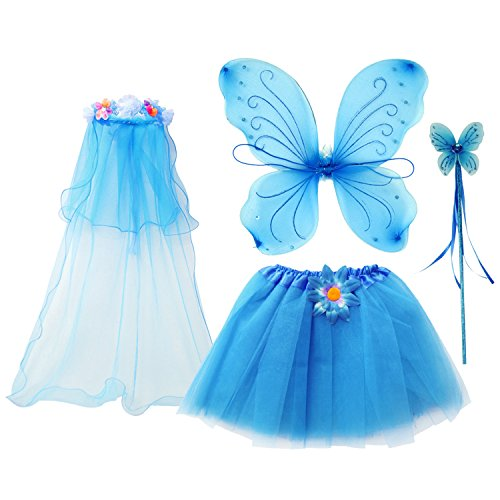 fedio 4Pcs Girls Princess Fairy Costume Set with Wings, Tutu, Wand and Floral Wreath Veil for Children Ages 3-6 (Blue) -