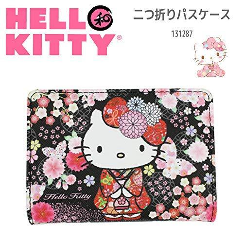 Sanrio Hello Kitty Bus Train Card Pass Case Holder Kitty Japanese Kimono and Butterfly Black 05