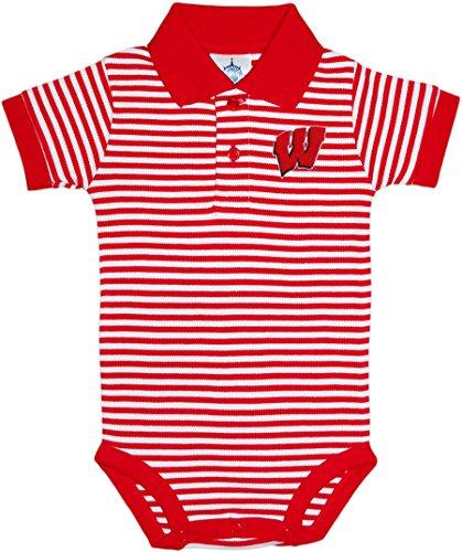University of Wisconsin Badgers Newborn Striped Polo Bodysuit,Cardinal,3-6 - Striped Wisconsin Shirt
