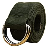 Canvas Web Belt Double D-ring Buckle 1 1/2 Inch Wide 42 Inch Long with Metal Tip Solid Color Army Green