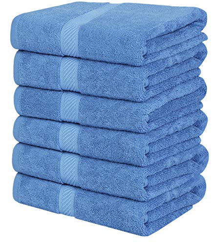Utopia Towels Cotton Towels, Electric Blue, 24 x 48 Inches Towels for Pool, Spa, and Gym Lightweight and Highly Absorbent Quick Drying Towels, (Pack of 6)