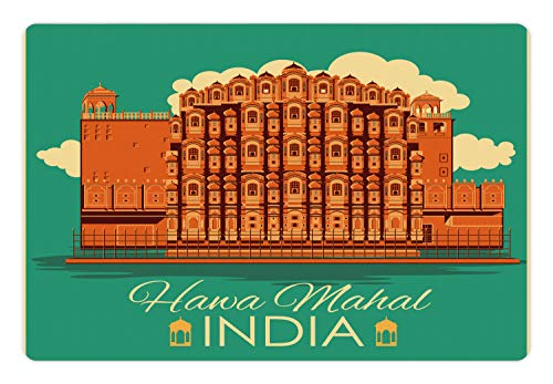 Ambesonne Ethnic Pet Mat for Food and Water, Vintage Poster of Famous Monument Hawa Mahal in Ethnic Illustration Print, Rectangle Non-Slip Rubber Mat for Dogs and Cats, Orange and Jade ()