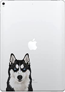 FINCIBO 5 x 5 inch Cute Black Siberian Husky Dog Removable Vinyl Decal Stickers for iPad MacBook Laptop (Or Any Flat Surface)