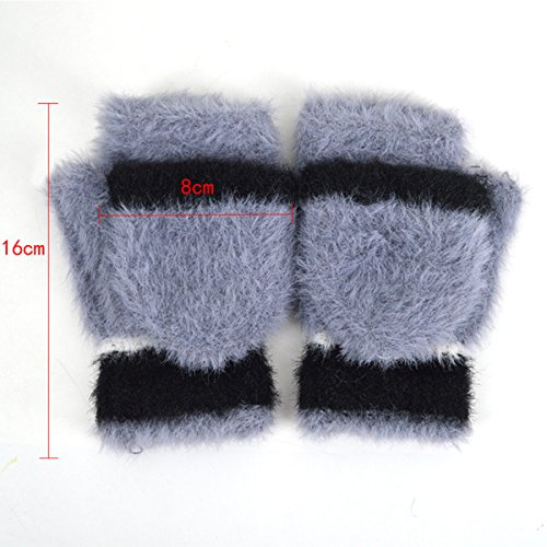 Women Cute Half Finger Gloves Flip Top Convertible Mittens Plush Faux Fur Mitts(Grey) by Mily (Image #6)