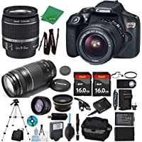 Canon Rebel T6 Camera + 18-55mm IS + 75-300mm III + 2pcs 16GB Memory + Case + Memory Reader + Tripod + Starter Set + Wide Angle + Telephoto + Flash + Battery + Charger - International Version