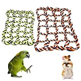 Aolvo 2 Piecs Red & Green Cotton Hamster Parrot Climb Swing Rope Nets, Bird Swing Hanging Cage Toys, Small Animal Activity Toy Rat and Ferret Hemp Rope Nets Climbing Ladder for Hamster Birds Rat