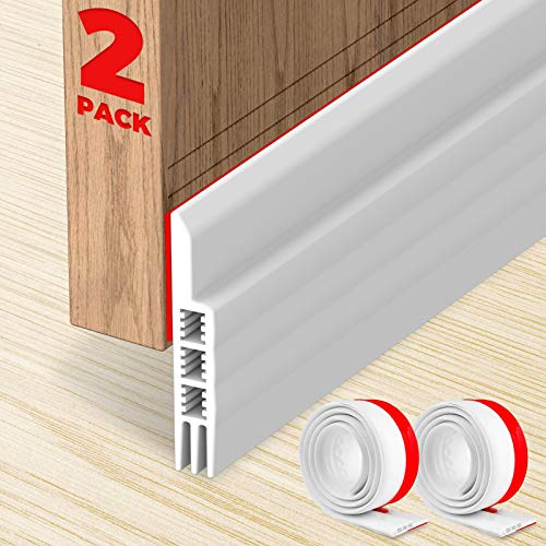 "Holikme 2 Pack Door Draft Stopper Under Door Draft Blocker Insulator Door Sweep Weather Stripping Noise Stopper Strong Adhesive 37"" Length"