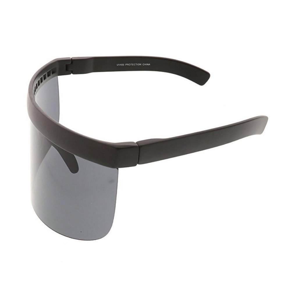 04728fe39d7 MINCL Super Large Futuristic Oversize Shield Visor Sunglasses Flat Top  Mirrored Mono Lens 172mm (black-black)  Amazon.co.uk  Clothing