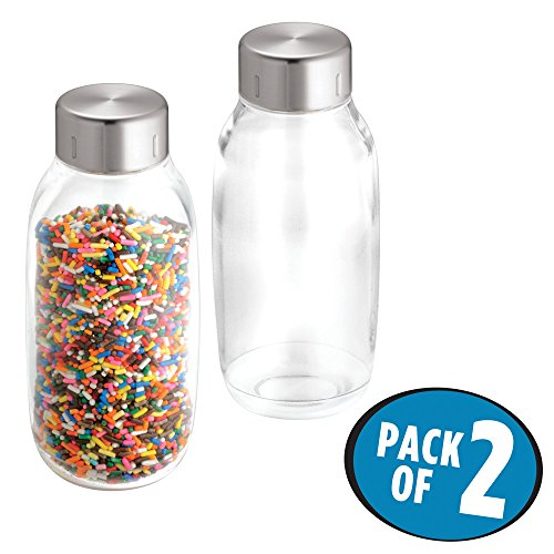 mDesign Food Storage Bottles for Kitchen Pantry, Cabinet to Hold Candy, Milk, Nuts, Juices, Creamer - Pack of 2, 18 oz., Clear/Brushed Stainless (Seville Twist)