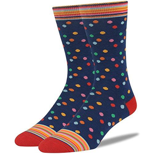 Dress Socks, SUTTOS Elite Men's Colorful Fashion Crew Novelty Socks Groomsmen Gifts Socks Funky Striped Poka Dots Wave Design Pattern Socks, 2 Pairs -