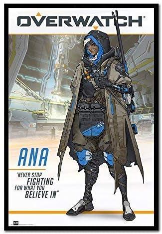 Overwatch Anaゲームポスター磁気Notice BoardブラックFramed – 96.5 X 66 Cms約38 x 26インチ)