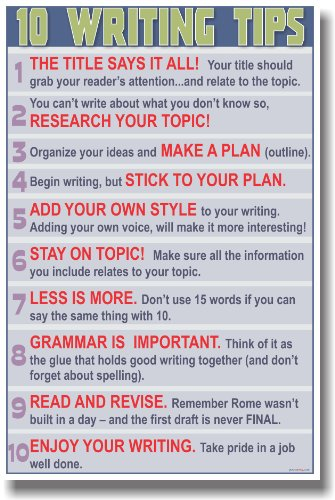 Language Arts Classroom Poster - 10 Writing Tips
