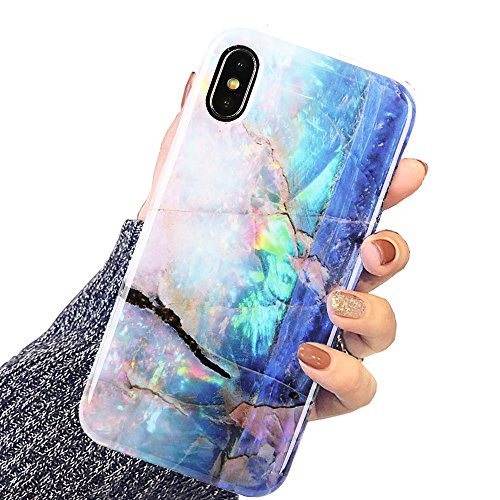 DICHEER iPhone X Case,iPhone Xs Case,Blue Gold Opal Marble for Girls Women Slim Fit Thin Clear Bumper Glossy TPU Cute for Women Girls Soft Rubber Silicon Cover Protective Case for iPhone x/iPhone Xs