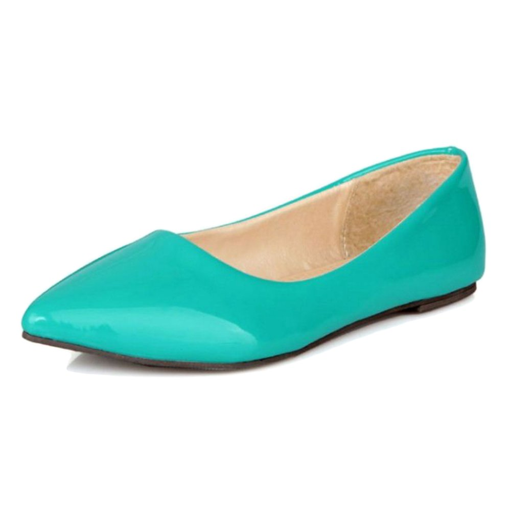 Smilice Women Flats Patent Leather Pointed Toe Slip-on Shoes 6 Colors Available Size 1-13 US B06XCR375M 36 EU = US 5 = 23 CM|Green