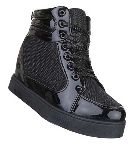 9108ce8143bb Damen Stiefeletten Schuhe Keil Wedges Boots Schwarz 36 37 38 39 40 41  Schwarz