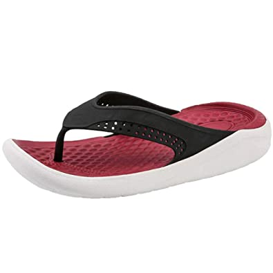765d66723 FD-FLY88 Men s Classic Thong Flip Flop Hollow Flat Bottom Breathable Beach  Slippers Red
