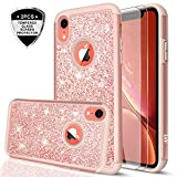 iPhone XR Case with Tempered Glass Screen Protector [2 Pack] for Girls Women, LeYi Glitter Bling Sparkle Cute Coral Protective Phone Cover Cases for Apple iPhone XR 10 10XR (6.1') TP Rose Gold