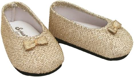 ee040a8781d6f Amazon.com: Fits American Girl Dolls Gold Dress Shoes for 18 Inch Dolls,  Stylish Gold Glitter Doll Shoes: Toys & Games