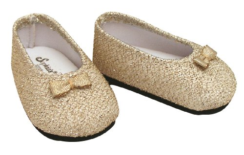 Fits American Girl Dolls Gold Dress Shoes for 18 Inch Dolls, Stylish Gold Glitter Doll Shoes - Glitter Doll Shoes