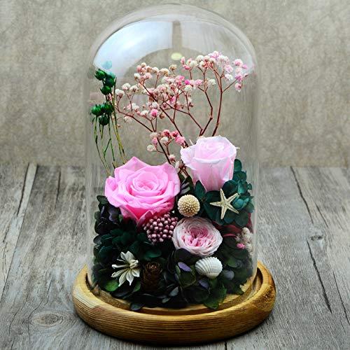 JYJSYMMG 永遠の生活 ガラスカバー プリザーブドフラワー 1422cm ローズウェディング 記念日 バレンタインデー 母の友人 最高のギフト ピンク 9648257179035 B07H5JRBCT ピンク
