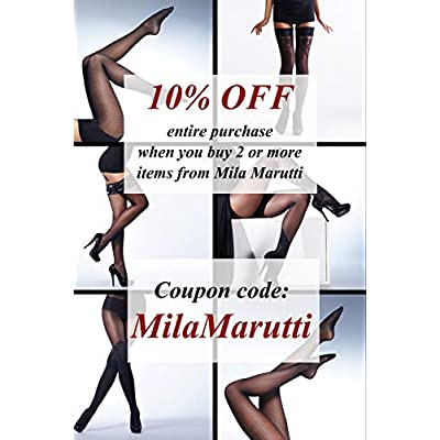 MILA MARUTTI Thigh High Nylons Lace Top Silicone Stockings 20 Denier Pantyhose for Women at Women's Clothing store