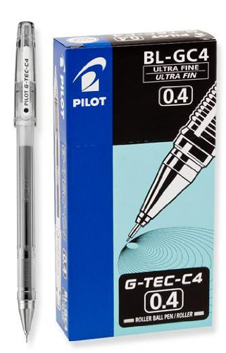 Pilot G-Tec-C Black Ultra Fine 0.4mm - 12 Pack Gel Pen - PGTC4-BLK