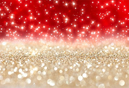 CSFOTO 7x5ft Background for Red and Gold Glitter Bokeh Photography Backdrop Birthday Party Wedding Decoration Bridal Party Glistening Sequins Neon Glister Photo Studio Props Polyester Wallpaper ()