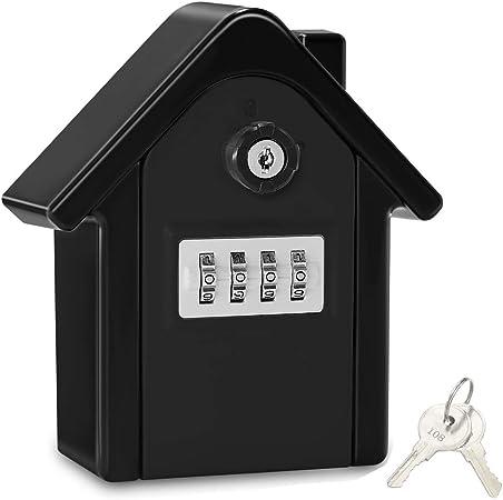 Caja Seguridad Llaves Grande Caja Llaves Combinacion Key Safe Box with 4 Dígitos Código, Almacenamiento Seguro para Llaves Caja Guarda Llaves Pared para Exterior, Casa, Garaje, Escuela (Negro-02): Amazon.es: Hogar