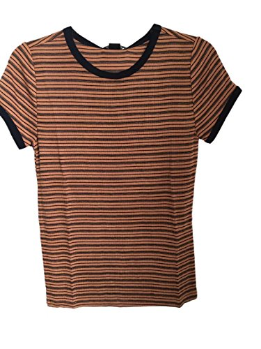 ROOLOLY Women's Basic Short Sleeve Round Neck Striped T-Shirt(Mustard/Dark (Mustard T-shirt Tee)