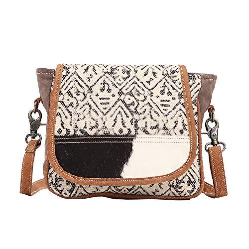- Myra Bag Monochrome Upcycled Canvas & Cowhide Messenger Bag S-1526
