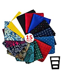 Pocket Squares for men 15 Pack set in Gift Box Assorted colors and patterns