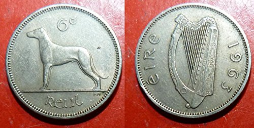 1963 Ireland Sixpence -- Irish Wolfhound -- Almost Uncirculated