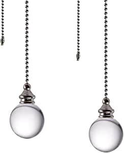Ceiling Fan Pull Chain, 2pcs Clear 30mm Diameter Crystal Ball Fan Pull Chain, 20 Inches Fan Pulls Set with Connector Ceiling Fan Pull Chain Ornaments Lighting Accessories