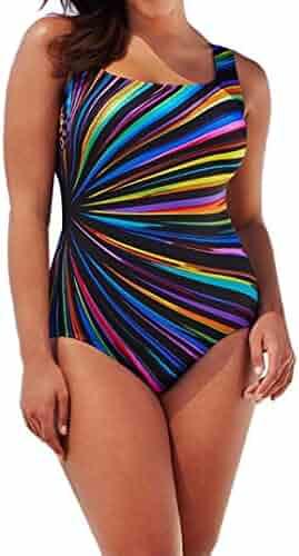 66f087c49ff Malloom Women's Plus Size Athletic Printing Backless One Piece Bikini  Monokini Swimwear