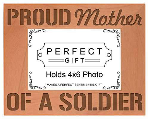 (ThisWear Proud Mother a Soldier Natural Wood Engraved 4x6 Landscape Picture Frame Wood)
